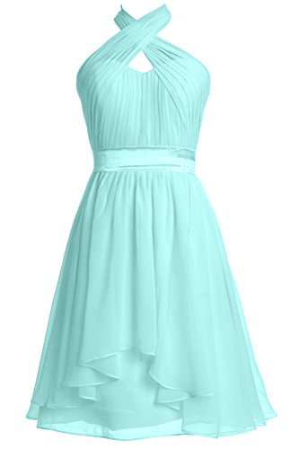 MACloth Women Halter Short Bridesmaid Dress Chiffon Cocktail Party Formal Gown Aqua