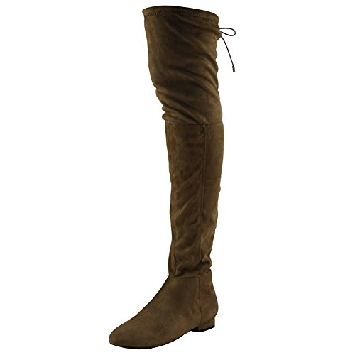 Womens Ladies Thigh High Over The Knee Low Heel Flat Lace Up Boots Shoes  Size 5 e67de39538