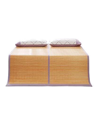 EEvER Schlafmatte Bequeme Matratze Faltbare Sommer-Schlafmatte aus Bambus Bambusmatten für Sommer- Twin/Full/Queen/King Size-Sommer-Schlafmatten (Farbe: 1 Matte + 2 Kissenbezüge, Größe: 59