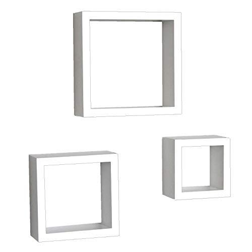 Yelloo Set 3 Cubi Mensole Legno Salotto Soggiorno Bianco Con