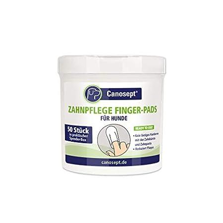 Canosept Zahnpflege Finger-Pads für Hunde 50 Stück – Fingerlinge für effektive Zahnreinigung, M&hygiene & frischen Atem…