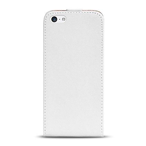 Premium Schutzhülle für - iPhone 5C - Hülle Flip Case Wallet Tasche aus PU Leder Farbe: Grün Weiss
