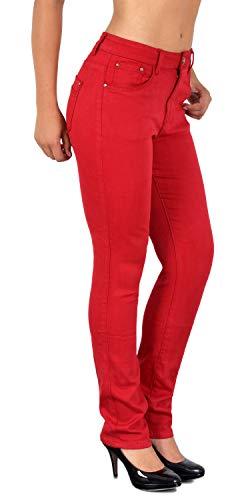 ESRA Damen Straight Fit Hose Hochbund Stoffhose gerader Schnitt High Waist Hose bis Übergröße 44, 46, 48, 50 J510