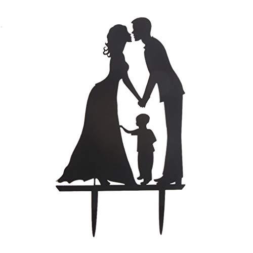 Braut Bräutigam mit Junge Hochzeit Kuchen Topper Lags Stick Backzubehör Holz Backwerkzeug für Muslim Party Hochzeit Geburtstag Liefert Baby Dusche ()