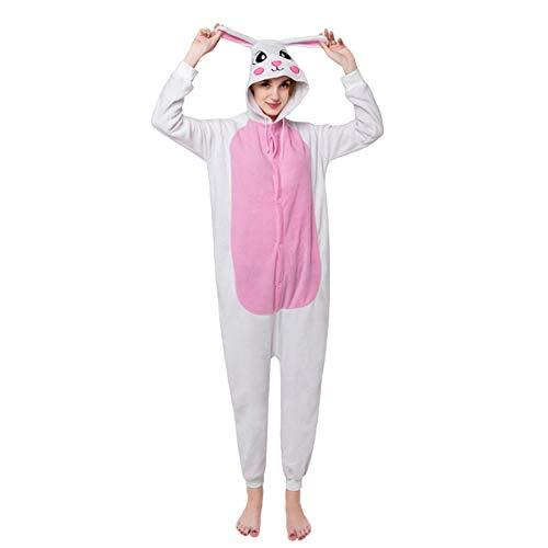 Kaninchen Damen Kostüm - LPATTERN Erwachsene Damen/Herren Cartoon Kostüm- Jumpsuit Overall Schlafanzug Pyjamas Einteiler, Weiß und Rosa Kaninchen, M für Körpergröße 158-168CM