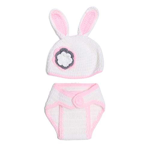 Amosfun Neugeborene Fotografie Outfits Requisiten Osterhase Kostüm Crochet Knit Outfits (Pink und Weiß)