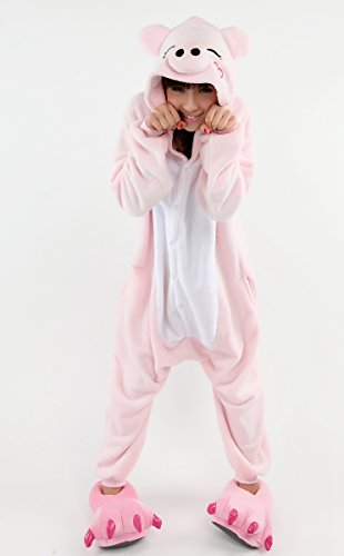 Imagen de aivtalk  ropa de dormir adulto de franela suave traje de disfraz animal cerdo rosa para homewear cosplay festival de navidad halloween  talla xl alternativa