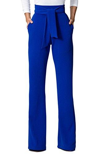 Jumojufol Donna Elegante Alto Vita Dritto Benda Tasche A Gambe Larghe Pantaloni Lunghi Blue M