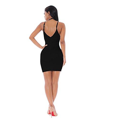 SHISHANG Mesdames mode vestimentaire trois couleur de sélection haute été élastique robe harnais col V Black