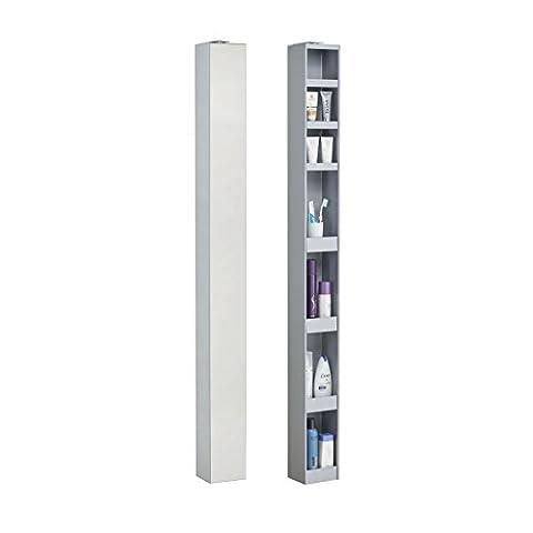 Bad-turn Spiegel-Drehregal - 14 x 12,5 cm, h 158 cm - silber