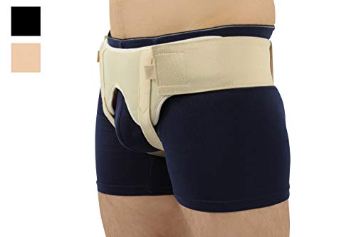 BeFit24® France - Made in EU - Ceinture hernie inguinale adaptable - avec coussinets en silicone double face amovibles gauche et droite pour un soutien délicat et fiable - Size 2 - Beige