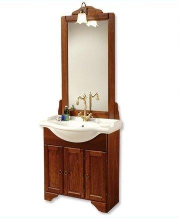 Mobile arredo bagno portofino cm85 arte povera con lavabo in ceramica e specchio mobili