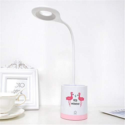 Lámpara Táctil Led Recargable Usb 3 Configuraciones Regulable Luz De Noche Flexible Con Portalápices Luz Blanca 8.8 * 8.8 * 44Cm