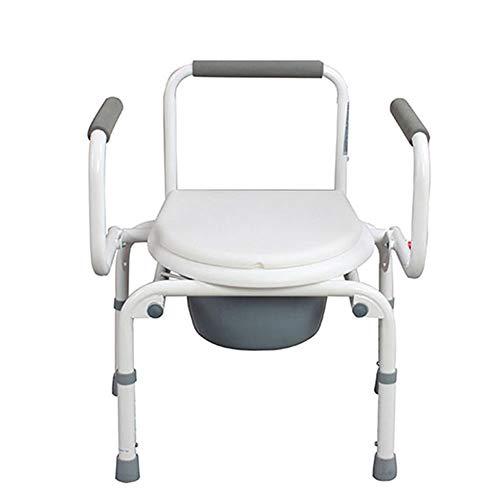 Tragbare Toilettenstuhl, luxuriöse Duschstuhl, einfach zu Transfer Drop-Arm Duschstuhl, schwere Stahl, einfache Montage ohne Werkzeug, weiß -