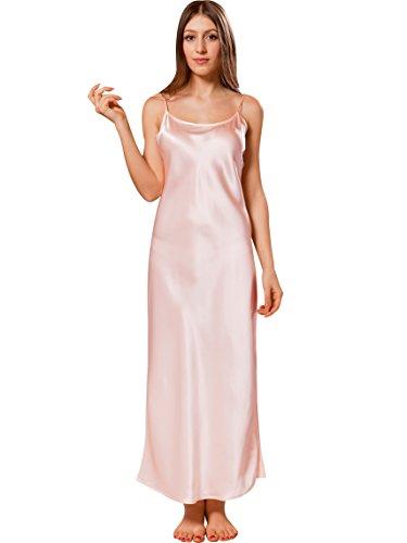 ELLESILK Träger-Nachthemd 100% 22 Momme Maulbeerseide, Damen Nachtkleid für Allergiker, Premium-Qualität, Hellrosa, XL (Nachthemd Rosa Seide)
