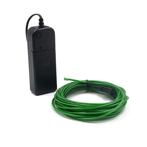 EL-Draht, 3 Lichtmodi Neonlicht tragbare batteriebetriebene Elektrolumineszenz-Draht-Pack-Treiber hohe Helligkeit für Xmas Party Dekoration Pub (16ft / 5m)(Grün)
