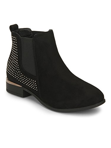 Black Suede Studded Ankle Boots