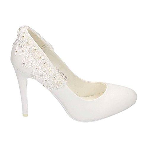 Damen Brautschuhe Hochzeit Pumps Weiß Strass Nieten Stilettos Elegant High Heels Plateau Abend Schuhe Bequem Weiß 15