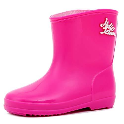 ZJOUJ Regenstiefel- Kinder niedlich Mode wasserdicht Regen Stiefel, Student rutschfeste leichte Gummi Regen Stiefel (Farbe : Pink, größe : 17cm) (Jungen Regen Stiefel Spiderman)