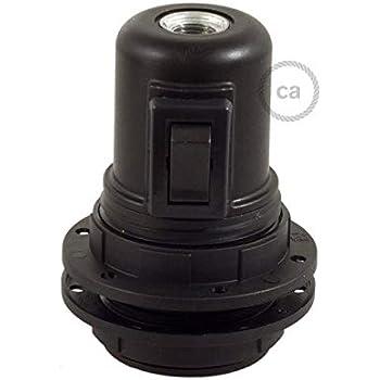 creative cables Douille E27 avec Interrupteur /à Tirette en mat/ériel thermoplastique Noir 2 bagues
