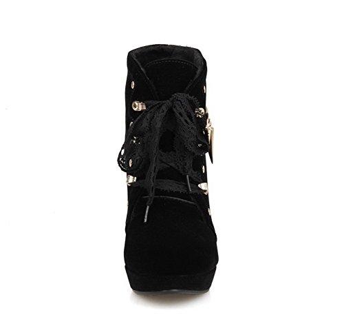 VogueZone009 Damen Schnüren Hoher Absatz Blend-Materialien Rein Niedrig-Spitze Stiefel Schwarz