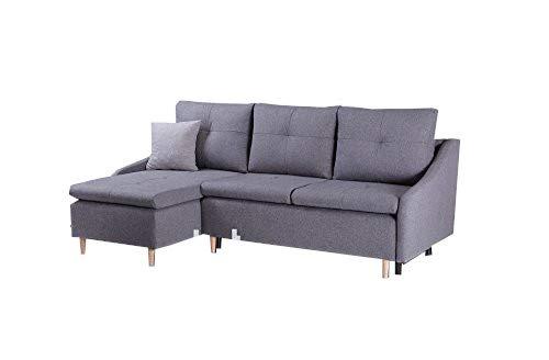 mb-moebel kleines Ecksofa mit Schlaffunktion Eckcouch mit Zwei Bettkasten Sofa Couch Wohnlandschaft L-Form Polsterecke Leon (Grau, Ecksofa Links)