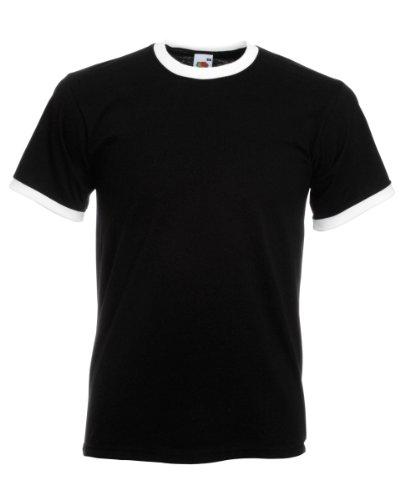 Fruit of the Loom Herren T-Shirt Ss040m Mehrfarbig - Black / White