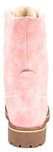 Elara Damen Biker Boots | Gemütliche Worker Stiefeletten | Warm Gefüttert | chunkyrayan Pink