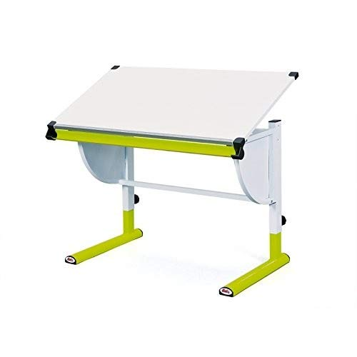 Inter Link Schülerschreibtisch Kinderschreibtisch Arbeitstisch Schreibtisch MDF Weiss Grün BxHxT: 110 x 63-93 x 60 cm