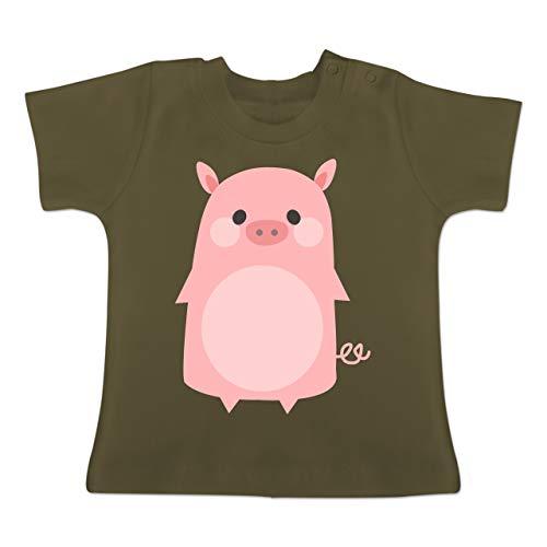Karneval und Fasching Baby - Fasching Kostüm Schweinchen - 18-24 Monate - Olivgrün - BZ02 - Baby T-Shirt Kurzarm (Monate Baby Schwein-kostüm-3-6)