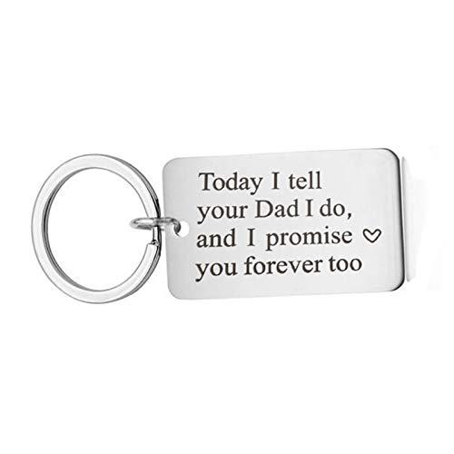 KnSam Schlüsselring Edelstahl Schlüsselhalter Eingraviert,Heute Sage Ich Deinem Vater, DASS Ich Es Tue Und Ich Verspreche, Dich Zu Lieben, Style B Schlüsselanhänger mit Kostenlos Gravur (Ich Verspreche Ihnen-ring)