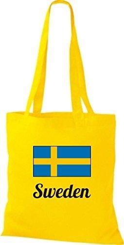 ShirtInStyle Stoffbeutel Baumwolltasche Länderjute Sweden Schweden Farbe Weinrot gelb