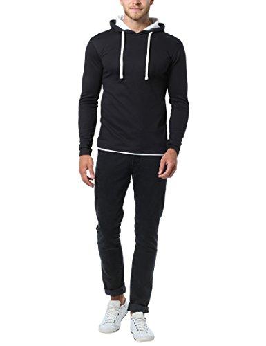 Lower East Herren Slim Fit Langarm-Shirt mit Kapuze, in verschiedenen Farben Schwarz (Schwarz)