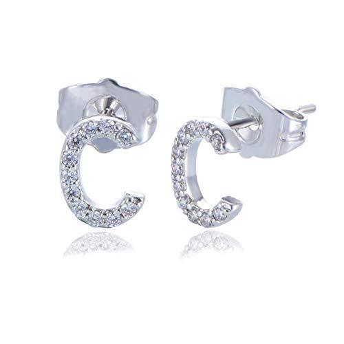 b54ea437e477 Yumay – Pendientes de oro blanco de 9 quilates con inicial de letra C para  mujeres