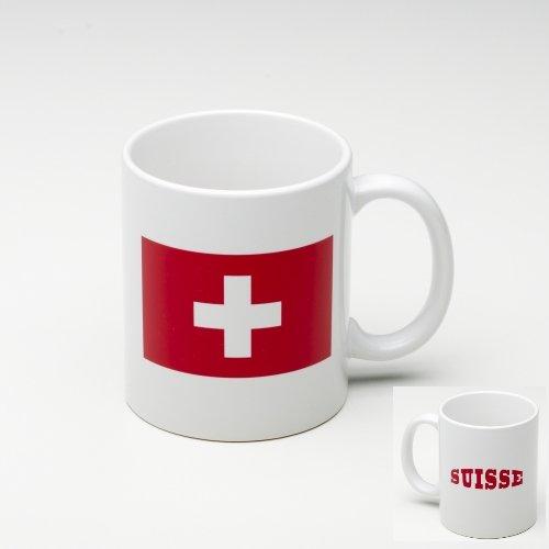 KOO Interactive - Kaffee Becher Mug aus Keramik Schweiz Flagge - Tasse mit Fahne