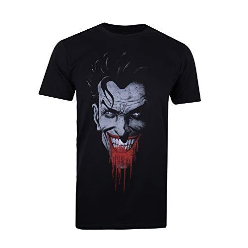 DC Comics Joker Grin Camiseta, Negro (Black Blk), Talla del Fabricante: Medium para Hombre