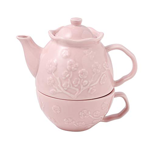 MALACASA, Serie Sweet.Time, Porzellan Tea for one Set Teeservice Teeset 3 teilig Set Teekanne mit Tasse Teekannen & Kaffekannen Geprägtes Muster in schönem Design