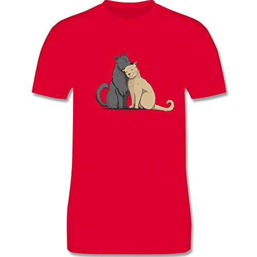 Shirtracer Katzen - Kuschelnde Katzen - Herren T-Shirt Rundhals Rot