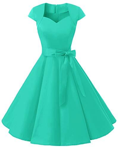 MuaDress 1960 Damen Vintage Kleid Rockabilly 1950er Retro Cocktailkleider Einfarbig Tiffany XL