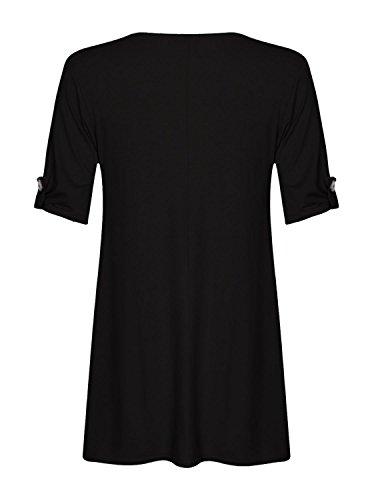Fast Fashion - D'oscillation Robe Plus La Taille Tourner Les Manches De La Bouton -Femmes Noir