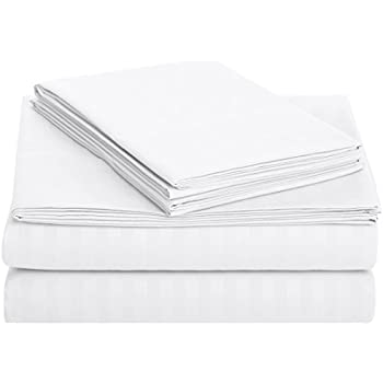 AmazonBasics Deluxe Microfiber Striped BedSheet Set (Includes 1 bedsheet, 1 fitted sheet with elastic, 2 pillow covers), Bright White, King
