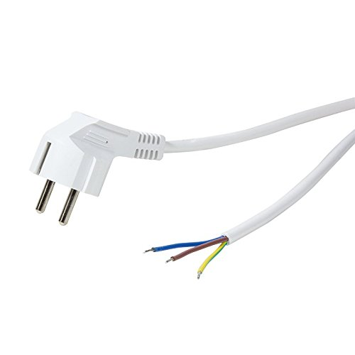 Faconet® Netzkabel Anschlusskabel Schutzkontaktstecker 90° zu offenem Kabelende 1.5 Meter 3x 0,75mm 250V 10A Schuko CEE 7/7, Power cable open wire (white)