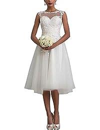 YASIOU Hochzeitskleid Damen Kurz Weiß Vintage Spitze Tüll A Linie Hochzeitskleider Brautkleid