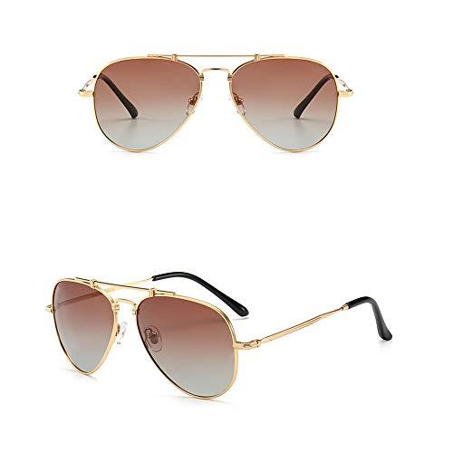 FANCYKIKI Herren/Damenmode Pilot Sonnenbrille, HD Fahren polarisierte Sonnenbrille Vintage High-End-Sonnenbrille für Reisen im Freien (Farbe : Gold frame/brown)