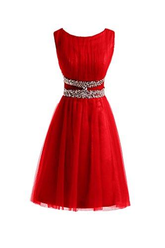 Sunvary Robe de Demoiselle d'honneur Robe de Bal Col Rond A-ligne Tulle Paillette Rouge