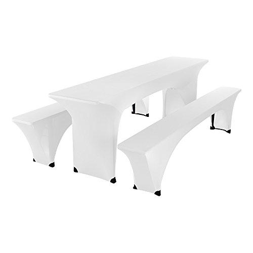 SCHEFFLER-HOME Bierzelt-Garnitur 3tlg. Set für Tisch und Bänke Stretch-Hussen 50x220 cm,...