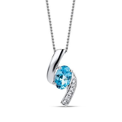 Orovi Collana - Pendente - Ciondolo Donna con Catena in Oro Bianco con Diamanti Taglio Brillante e Topazio Blu Ovale Ct 0.54 Oro 9 Kt / 375 Catenina Cm 45