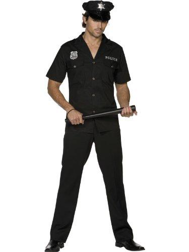 Uniform Cop Kostüme (Polizistenkostüm Kostüm Polizist Polizei US Cop USA in schwarz Uniform für Herren Herrenkostüm Fasching Karneval Gr. 48/50 (M), 52/54 (L),)