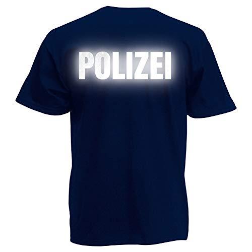 Und Cop Gefängnis Kostüm - Shirt-Panda Herren Polizei T-Shirt - Druck Beidseitig Brust & Rücken Reflex Dunkelblau (Druck Reflex) XXL