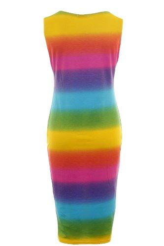 Saphir Femmes Sans Manche Zig-zag Multicolore Rayure Strass Femmes Robe Moulante Mi-longue Multi Bande